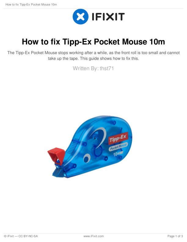 How to fix Tipp-Ex Pocket Mouse 10m