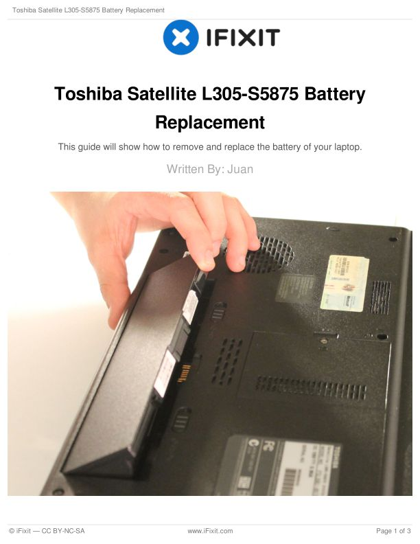 Toshiba Satellite L305-S5875 Battery Replacement