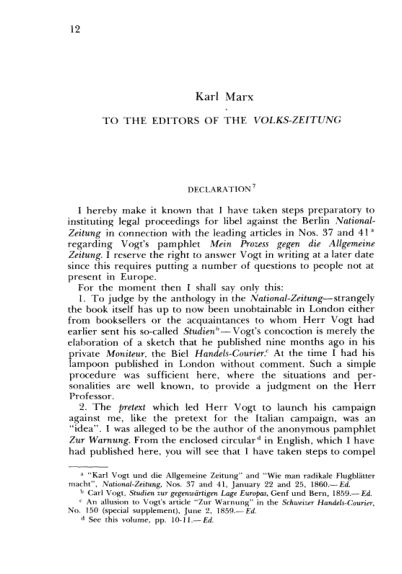 K. Marx. To the Editors of the Volks- Zeitung. Declaration  | Page 6