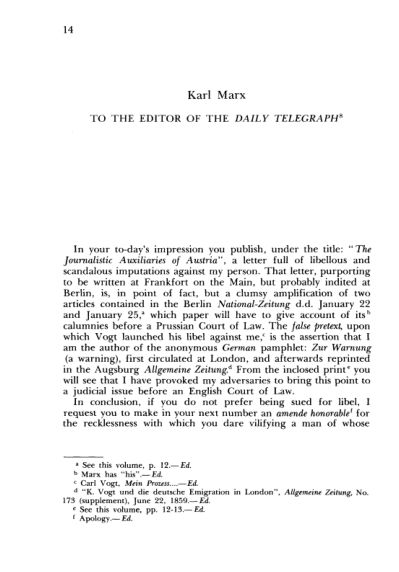 K. Marx. To the Editor of the Daily Telegraph  | Page 7