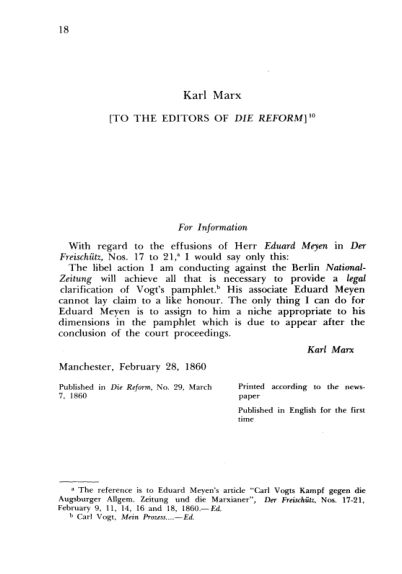 K. Marx. To the Editors of Die Reform  | Page 9