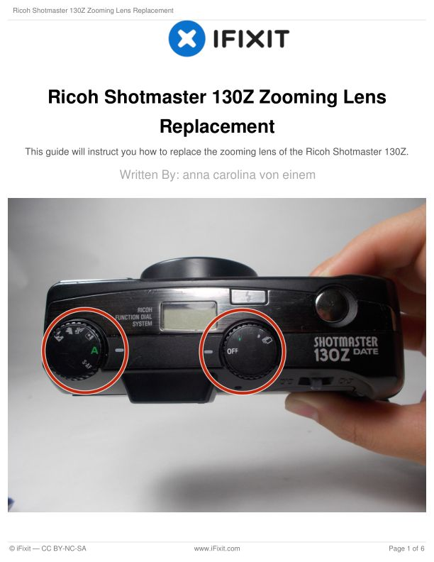 Ricoh Shotmaster 130Z Zooming Lens Replacement