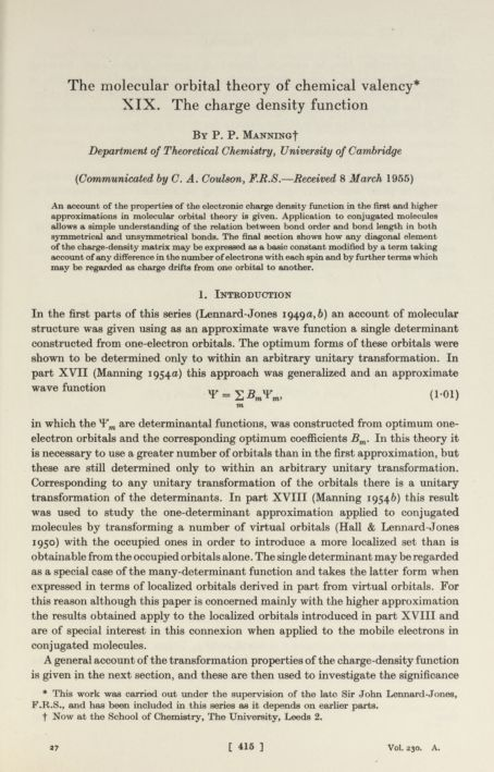 The molecular orbital theory of chemical valency XIX . The charge density function