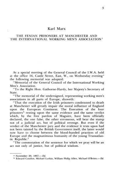 1. K. Marx. The Fenian Prisoners at Manchester and the International Working Men's Association  | Page 2