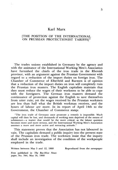 2. K. Marx. The Position of the International on Prussian Protectionist Tariffs  | Page 3