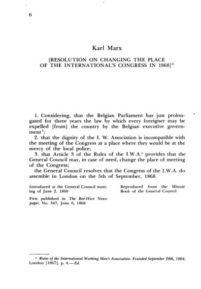 3. K. Marx. Resolution on Changing the Place of the International's Congress in 1868  | Page 4