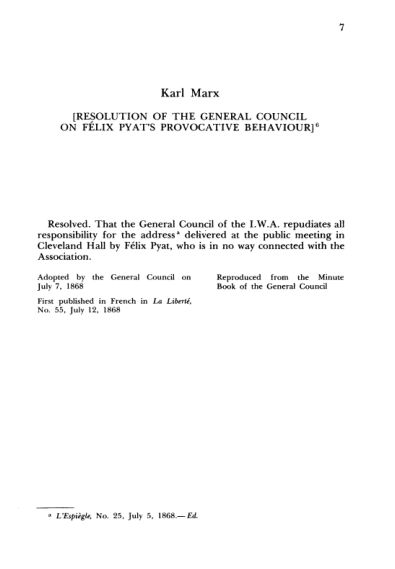 4. K. Marx. Resolution of the General Council on Félix Pyat's Provocative Behaviour  | Page 5