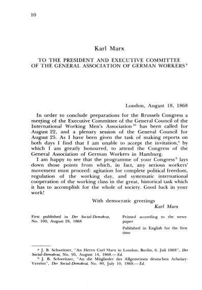 7. K. Marx. To the President and Executive Committee of the General Association of German Workers  | Page 8