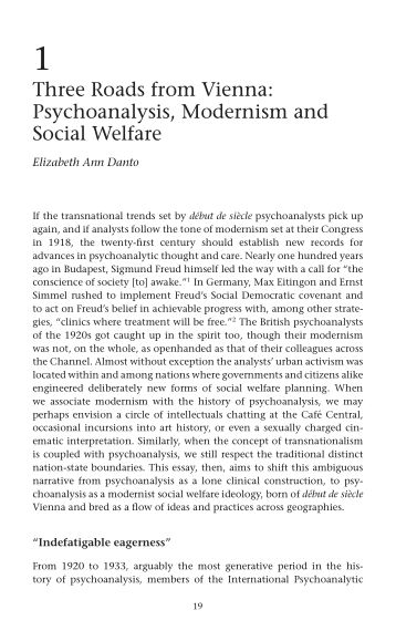 1 Three Roads from Vienna: Psychoanalysis, Modernism and Social Welfare | Page 6