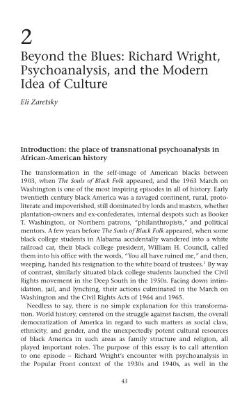 2 Beyond the Blues: Richard Wright, Psychoanalysis, and the Modern Idea of Culture | Page 7