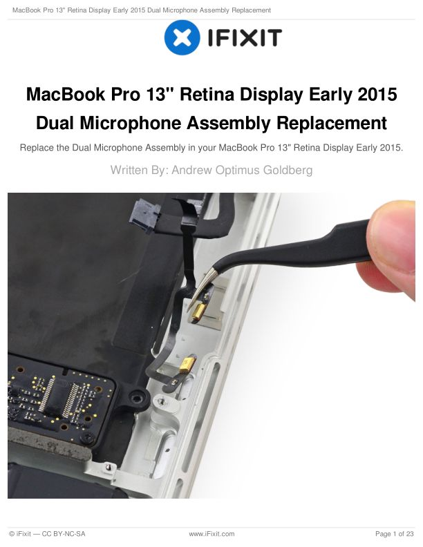 """MacBook Pro 13"""" Retina Display Early 2015 Dual Microphone Assembly Replacement"""