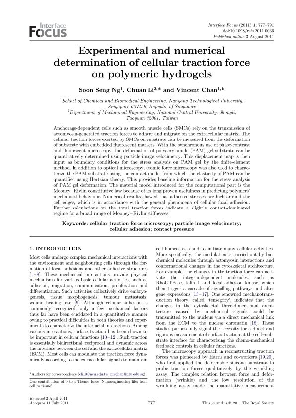 Experimental and numerical determination of cellular traction force on polymeric hydrogels