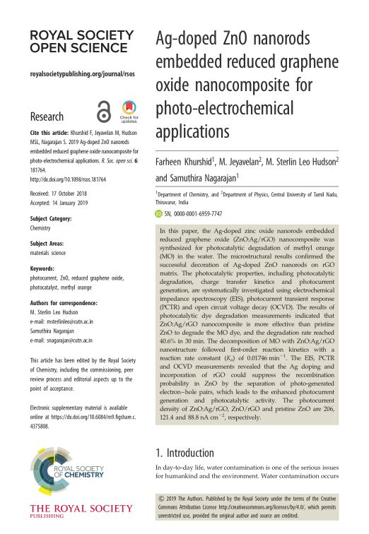 Ag-doped ZnO nanorods embedded reduced graphene oxide nanocomposite for photo-electrochemical applications