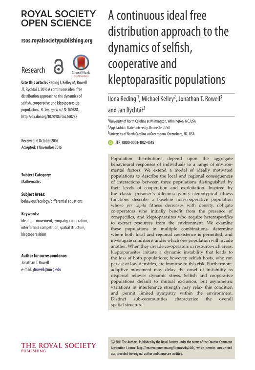 A continuous ideal free distribution approach to the dynamics of selfish, cooperative and kleptoparasitic populations