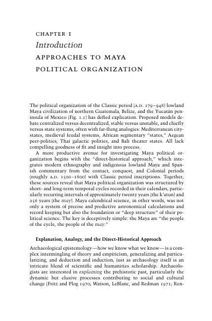 Chapter 1. Introduction: Approaches to Maya Political Organization   Page 5