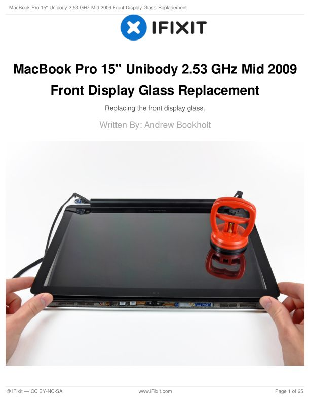 """MacBook Pro 15"""" Unibody 2.53 GHz Mid 2009 Front Display Glass Replacement"""