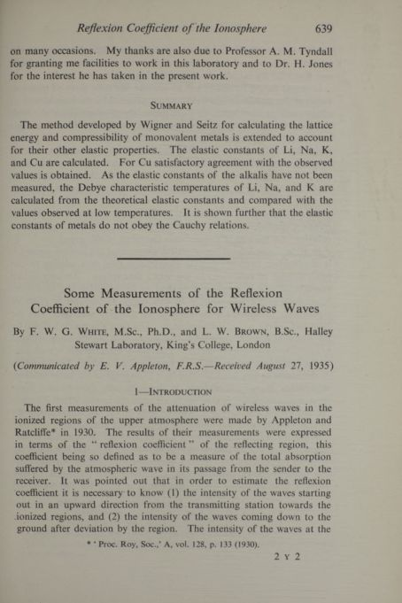 Some measurements of the reflexion coefficient of the ionosphere for wireless waves
