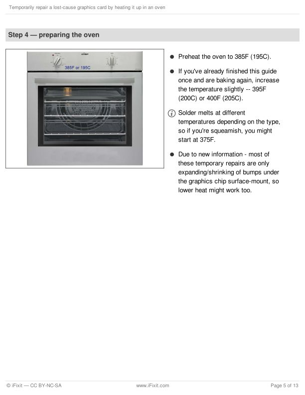 Step 4 — preparing the oven | Page 6