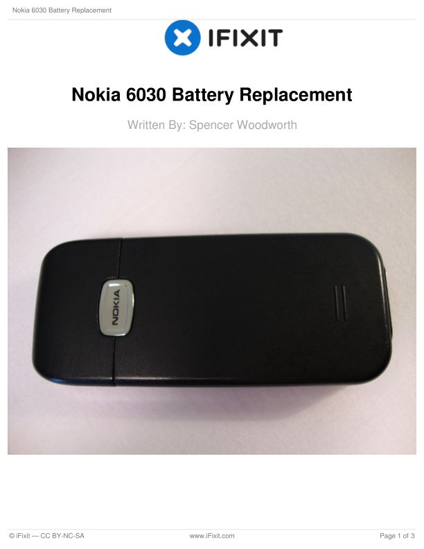 Nokia 6030 Battery Replacement