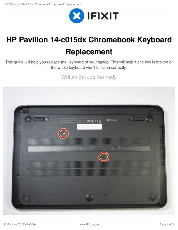 HP Pavilion 14-c015dx Chromebook Keyboard Replacement