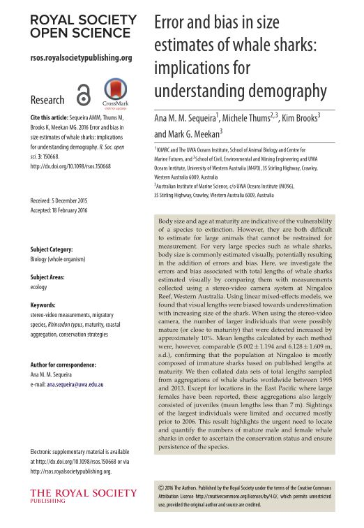 Error and bias in size estimates of whale sharks: implications for understanding demography