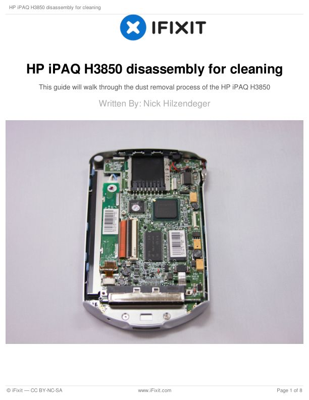 HP iPAQ H3850 disassembly for cleaning