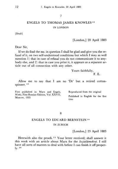 7. Engels to Thomas James Knowles. 20 April    Page 9