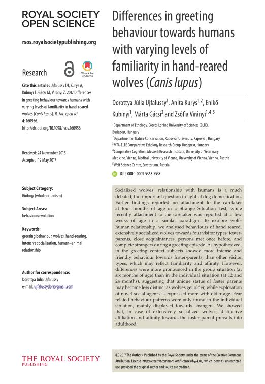 Differences in greeting behaviour towards humans with varying levels of familiarity in hand-reared wolves (Canis lupus)