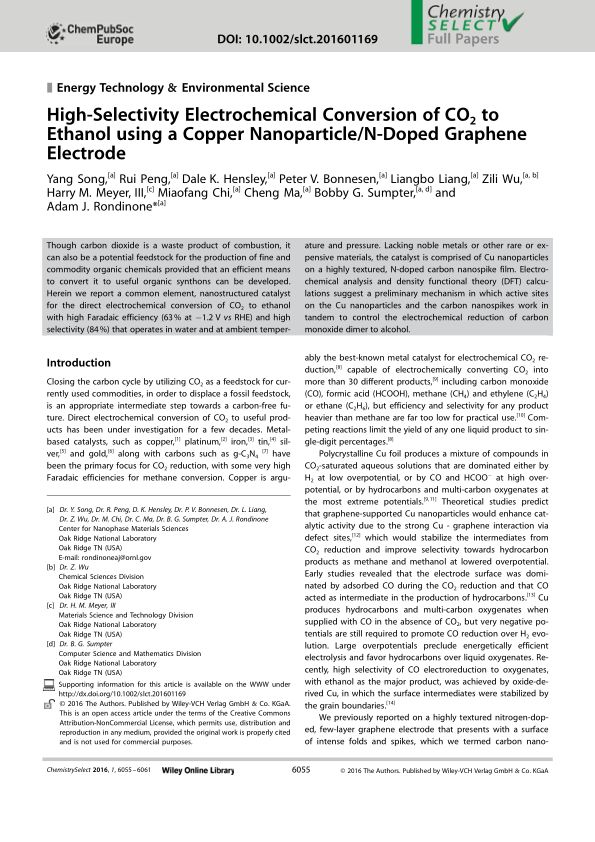 High‐Selectivity Electrochemical Conversion of CO2 to Ethanol using a Copper Nanoparticle/N‐Doped Graphene Electrode