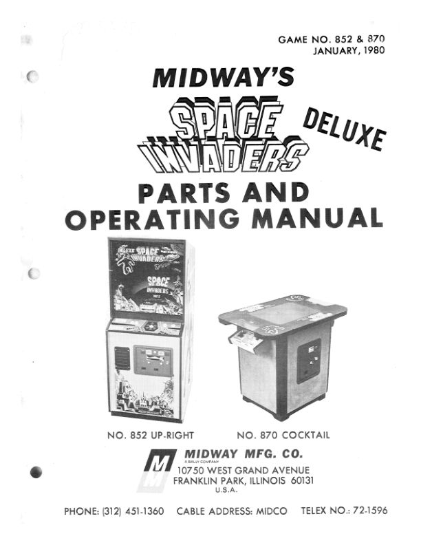 Space Invaders Deluxe - Arcade - Manual - gamesdatabase.org