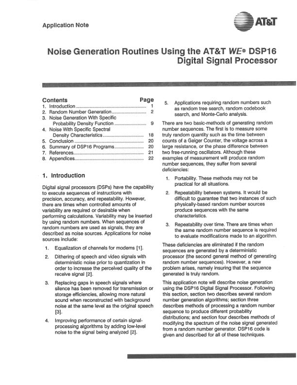 Noise Generation Routines Using the AT&T WE DSP16 DSP - AN88-18 - 1988