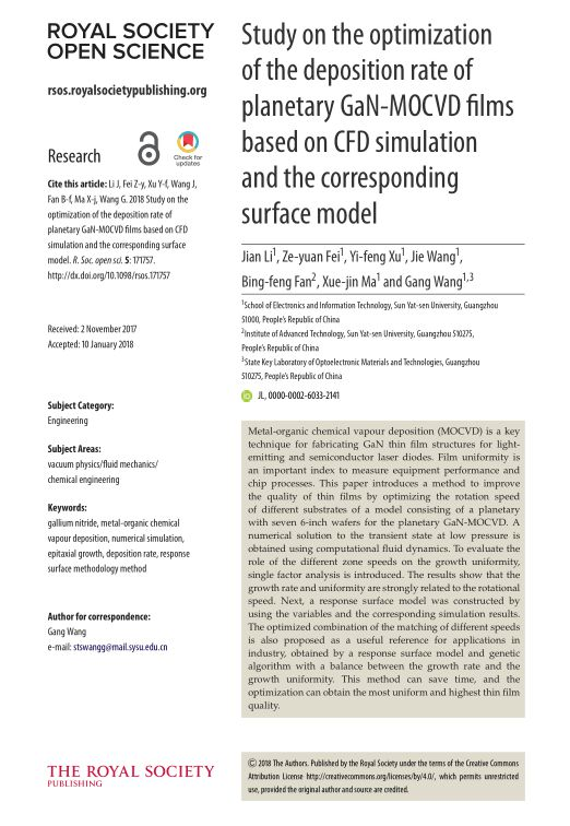 Study on the optimization of the deposition rate of planetary GaN-MOCVD films based on CFD simulation and the corresponding surface model