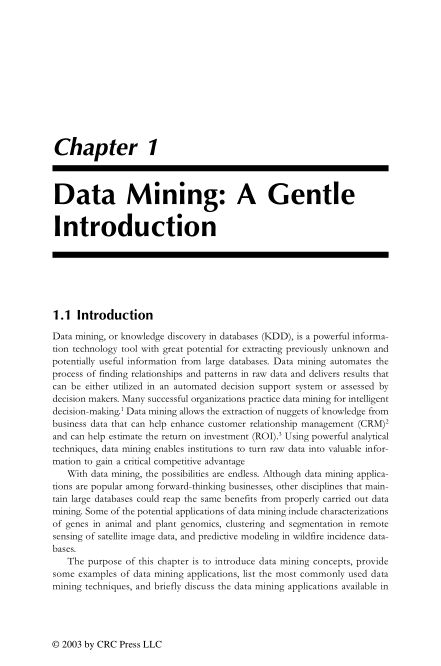 Chapter 1: Data Mining: A Gentle Introduction