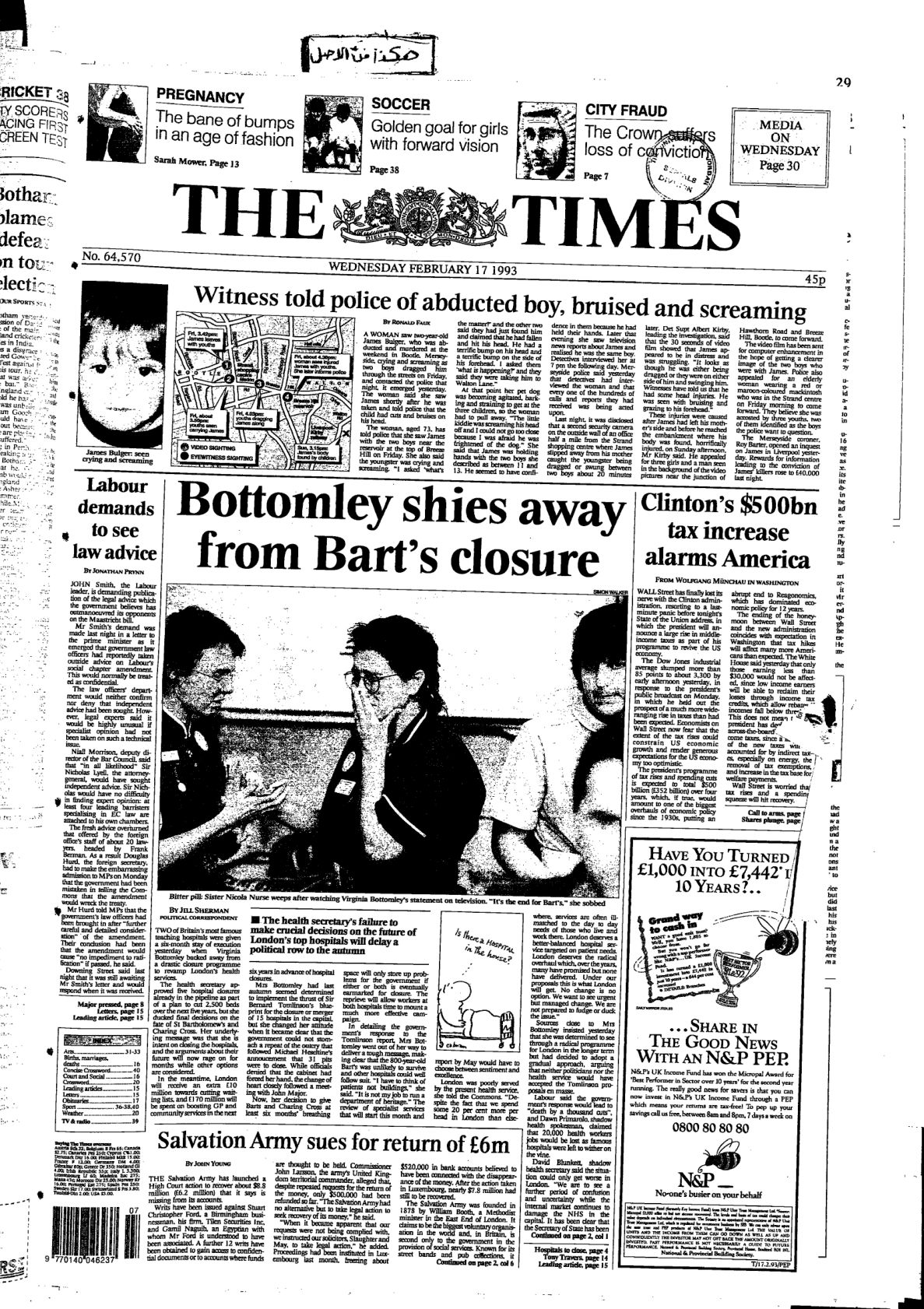 The Times Issue No. 64570. 1993-02-17, UK