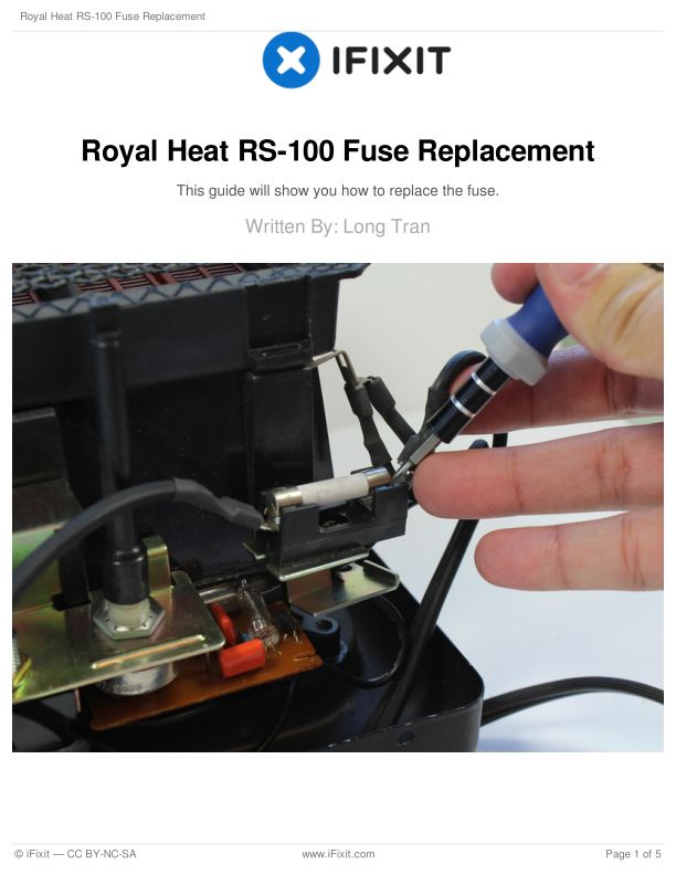 Royal Heat RS-100 Fuse Replacement