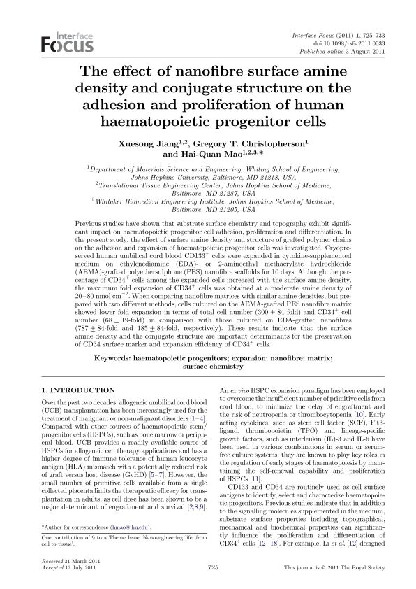 The effect of nanofibre surface amine density and conjugate structure on the adhesion and proliferation of human haematopoietic progenitor cells