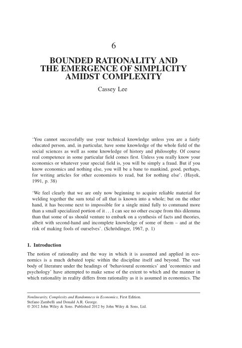6. Bounded Rationality and the Emergence of Simplicity Amidst Complexity | Page 8