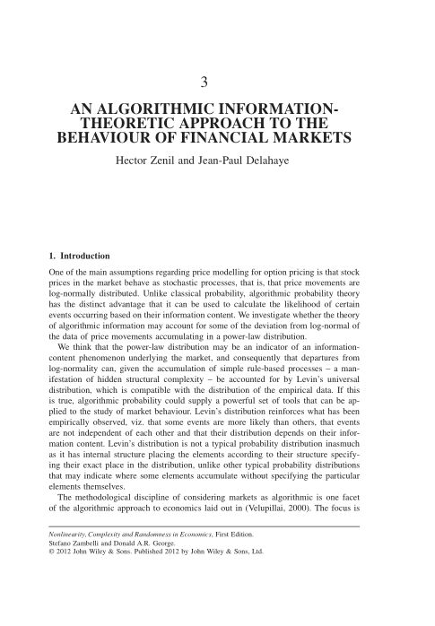 3. An Algorithmic Information-Theoretic Approach to the Behaviour of Financial Markets | Page 5