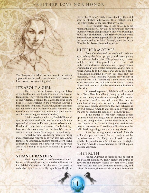 Savage Worlds - Shaintar - Legends Arise - Neither Love Nor Honor