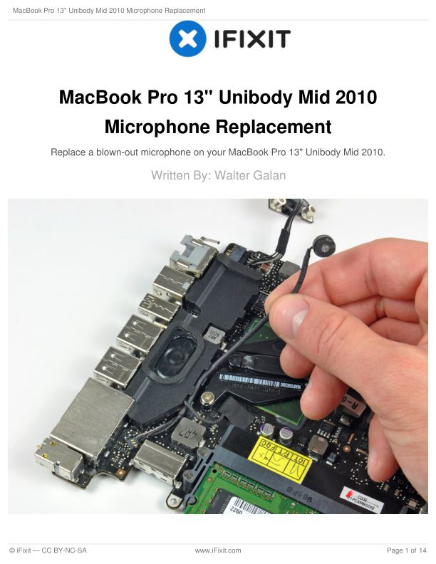 """MacBook Pro 13"""" Unibody Mid 2010 Microphone Replacement"""