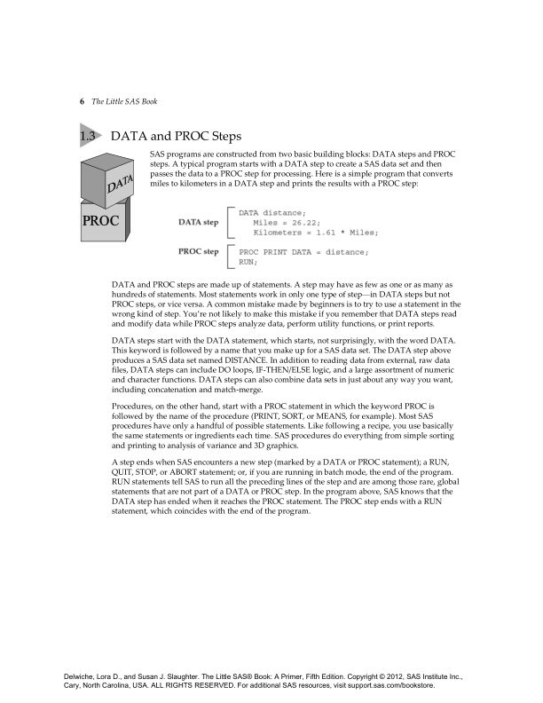 1.3 DATA and PROC Steps   Page 7