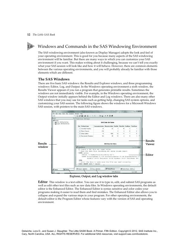 1.6 Windows and Commands in the SAS Windowing Environment   Page 10