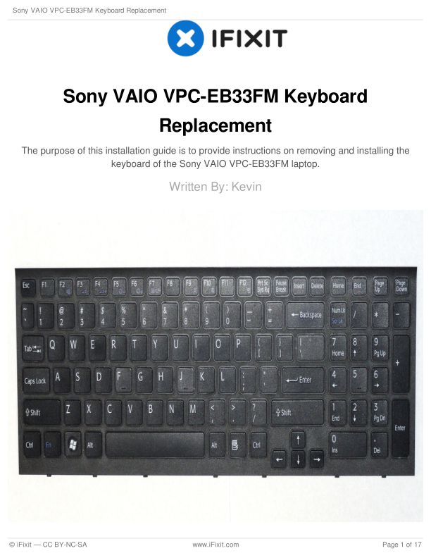 Sony VAIO VPC-EB33FM Keyboard Replacement