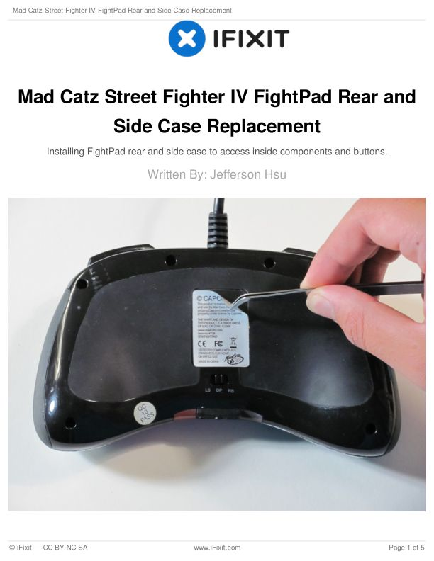 Mad Catz Street Fighter IV FightPad Rear and Side Case Replacement