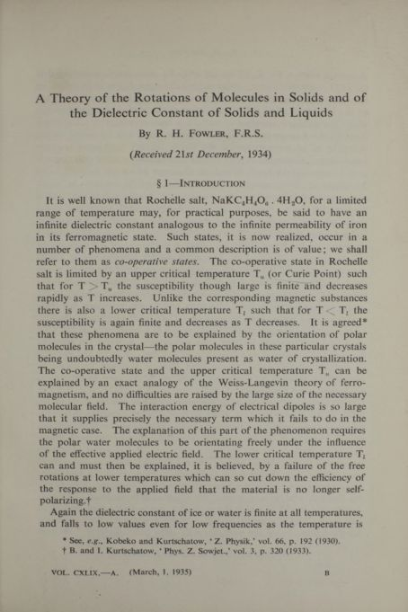 A theory of the rotations of molecules in solids and of the dielectric constant of solids and liquids