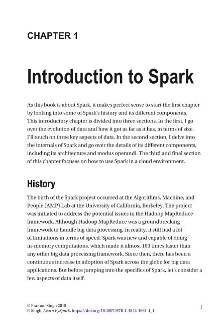 Chapter 1: Introduction toSpark   Page 5