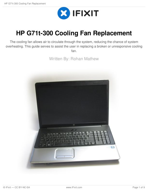HP G71t-300 Cooling Fan Replacement