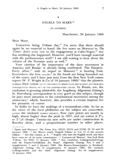 4. Engels to Marx. 26 January  | Page 6