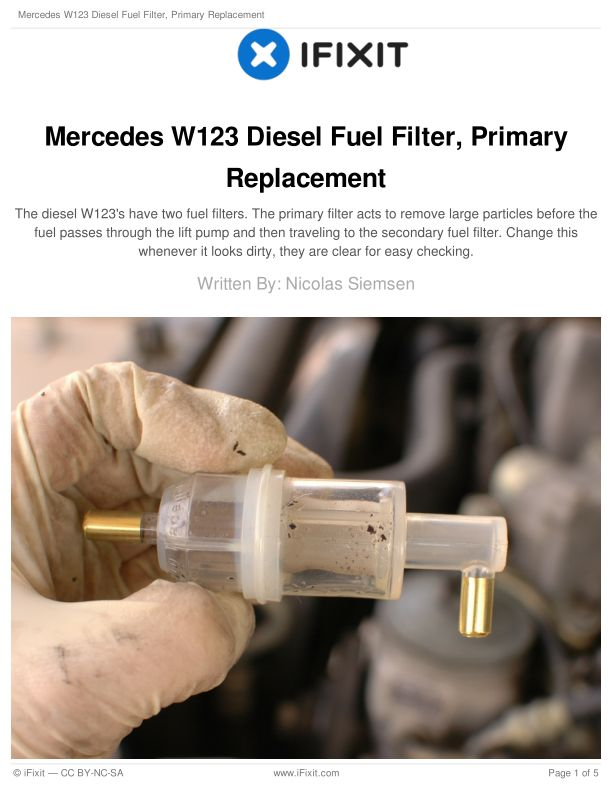 Mercedes W123 Diesel Fuel Filter, Primary Replacement