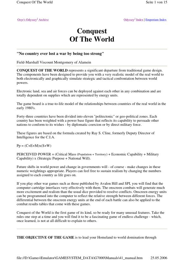 Conquest of the World - Magnavox Odyssey 2 - Manual - gamesdatabase.org